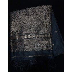 Blue Colour tussar mixed sarees
